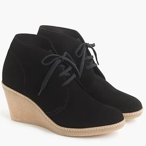 J. Crew McAlister Black Suede Wedge Ankle Bootie